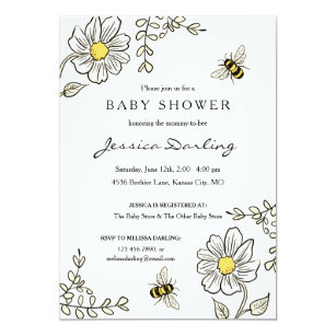 Bumble Bee Baby Shower Invitations Announcements Zazzle