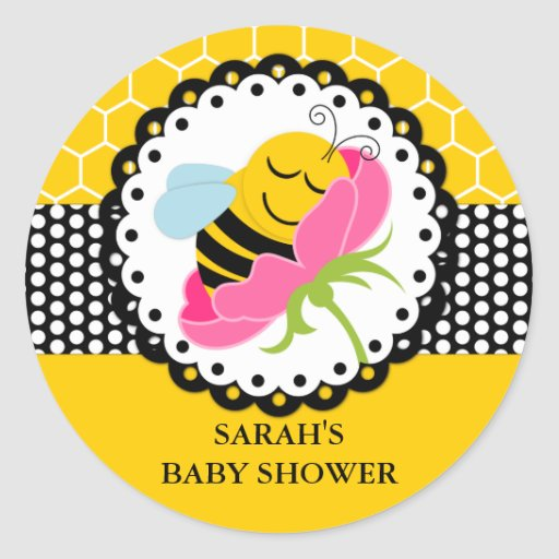 bee baby shower personalized stickers zazzle