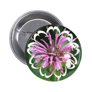 Bee Balm Flowers Round Button