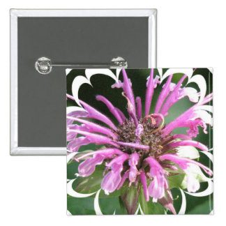 Bee Balm Flowers Square Pin