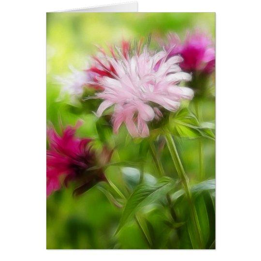 Bee Balm (Monarda) Flowers - Abstract Card