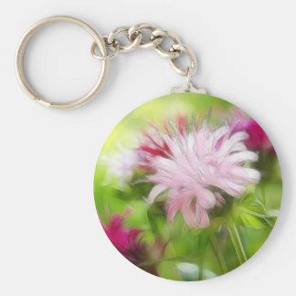 Bee Balm (Monarda) Flowers - Abstract Keychain