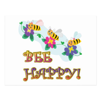bee be happy three cute bumble bees postcard