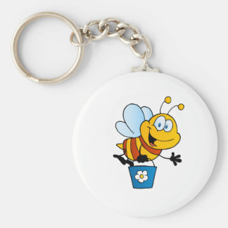 Bee Bees Bug Bugs Insect Cute Cartoon Animal Basic Round Button Keychain