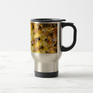 Bee Bees Hive Honey Comb Sweet Dessert Yellow 15 Oz Stainless Steel Travel Mug