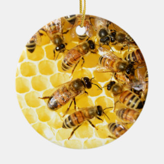 Bee Bees Hive Honey Comb Sweet Dessert Yellow Double-Sided Ceramic Round Christmas Ornament