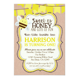 Bee birthday invitations announcements zazzle bee birthday invitation for boy or girl filmwisefo Images