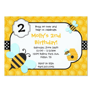 Bee Birthday Party 5x7 Paper Invitation Card