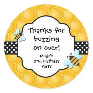 Bee Birthday Party Favor Stickers sticker
