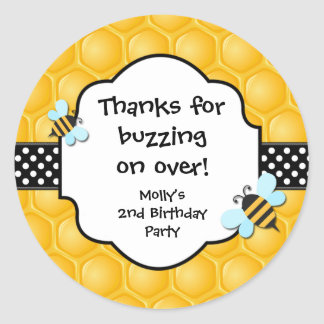 Bee Birthday Party Favor Stickers
