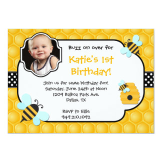 Bee Birthday Party Personalized Announcements