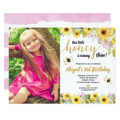 Bee birthday yellow pink floral sunflowers photo invitation