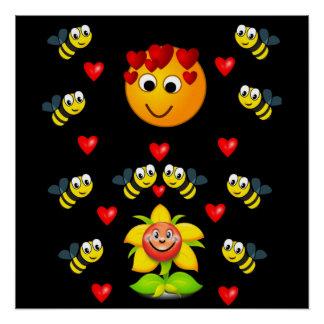 bee black yellow childrens poster