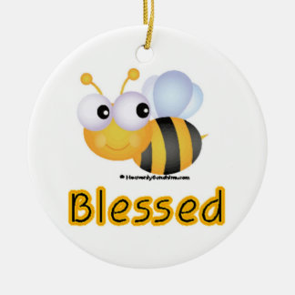 Bee Blessed Double-Sided Ceramic Round Christmas Ornament