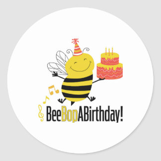 Bee Bop A Birthday Classic Round Sticker