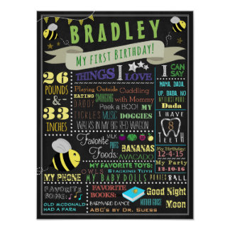 Bee Boys First Birthday Poster