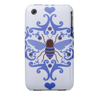 Bee bumblebee blue damask girly nature pattern Case-Mate iPhone 3 cases