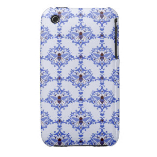 Bee bumblebee blue damask girly nature pattern iPhone 3 cover