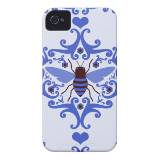 Bee bumblebee blue damask girly nature pattern iPhone 4 case