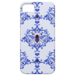Bee bumblebee blue damask wallpaper pattern case iPhone 5 covers