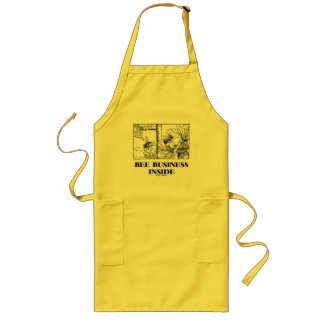 Bee Business Inside (Bees Foraging Nectar) Long Apron
