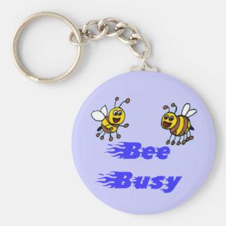 Bee busy basic round button keychain