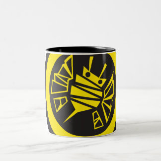 bee-button Two-Tone coffee mug