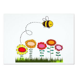 Bee Buzzing a Flower Garden 5x7 Paper Invitation Card