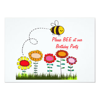 Bee Buzzing a Flower Garden Birthday Party 5x7 Paper Invitation Card