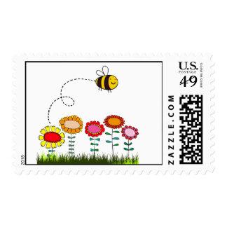 Bee Buzzing a Flower Garden Postage