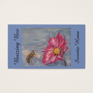 Bee buzzing on a prairie wildflower in the garden business card