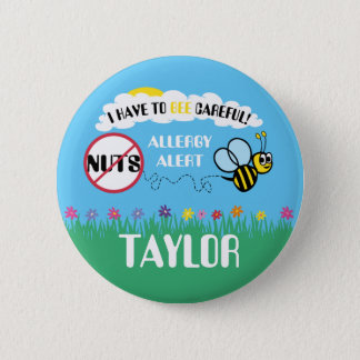 Bee Careful Nut Allergy Alert Button