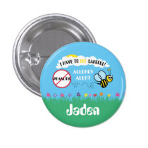 Bee Careful Peanut Allergy Alert Button