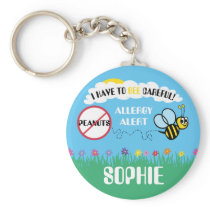 Bee Careful Peanut Allergy Alert Kids Personalized Keychain