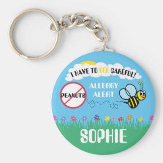 Bee Careful Peanut Allergy Alert Kids Personalized Keychain