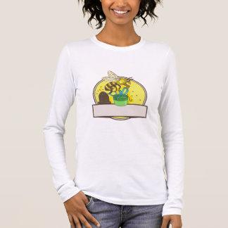 Bee Carrying Gift Box Skep Circle Drawing Long Sleeve T-Shirt