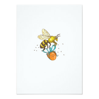 Bee Carrying Honey Pot Drawing Card