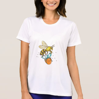 Bee Carrying Honey Pot Drawing T-Shirt