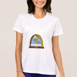 Bee Carrying Honey Pot Skep Circle Drawing T-Shirt