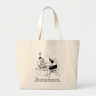 Bee Cartoon 6642 Large Tote Bag