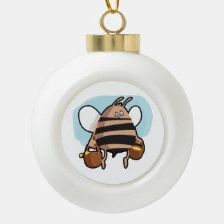 Bee cartoon ceramic ball christmas ornament