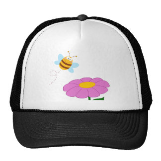 Bee Cartoon Character Flying Over Flower Trucker Hat