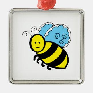 Bee cartoon metal ornament
