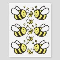Bee cartoon temporary tattoos