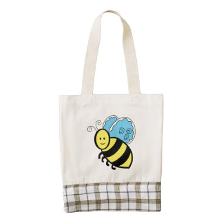 Bee cartoon zazzle HEART tote bag