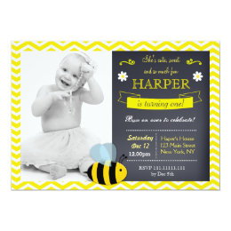 Bee birthday invitations announcements zazzle bee chalkboard photo birthday party invitations filmwisefo Images