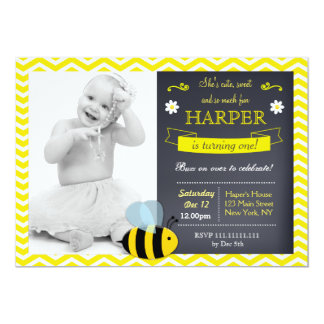 Bee Chalkboard Photo Birthday Party Invitations