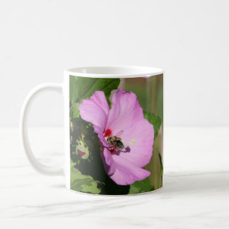 Bee Covered with Pollen On Pink Flower Coffee Mug