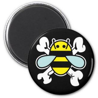 bee & cross bones 2 inch round magnet