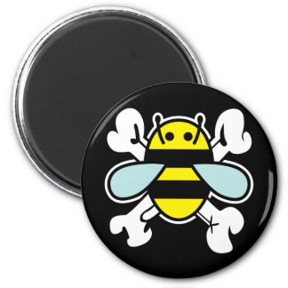 bee & cross bones magnet